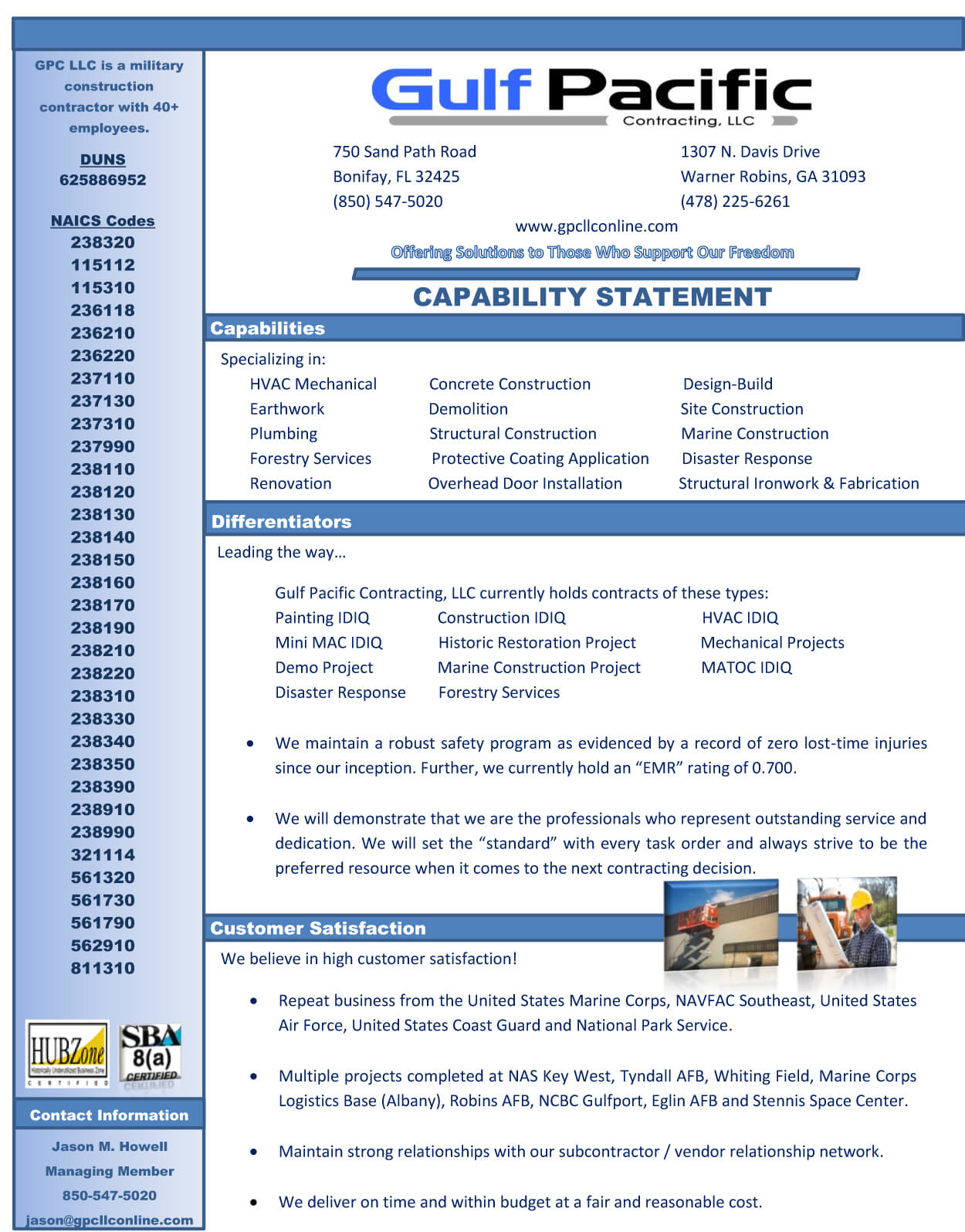 Capability Statement Gulf Pacific Contracting Llc